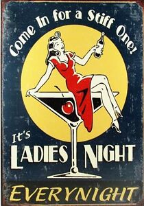 Ladies Night RETRO POSTER *A4 Sign VINTAGE WOMEN Wall Decor Pub Bar * Gift Idea