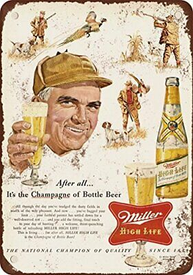 1954 Miller Beer and Pheasant Hunting Vintage Look Reproduction Metal Tin Sign