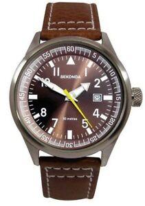 New Sekonda Gents / Mens Brown Leather Upper Strap 50m WR Watch 3882 RRP£49.99