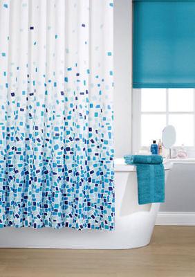 KAV Vibrant Mosaic Blue Polyester Shower Curtain Including 12 White Hooks Blue Mosaic Shower Curtain
