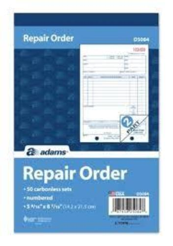 5 Adams D5084 Repair Order Books w Claim Check - 2 Parts - Brand New - 250 Sets