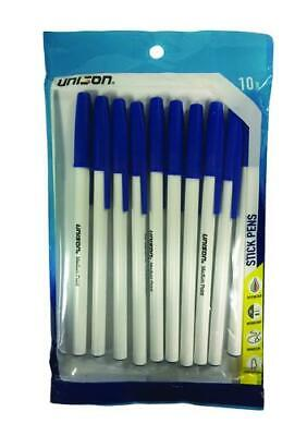 Lot Of Ten 10 Packages Unison Blue Ink Medium Bold Ball Point Pen 100 Pens