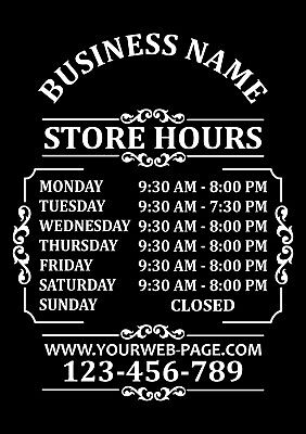 Custom Business Store Hours Sign Vinyl Decal Sticker 15x18 Door Glass