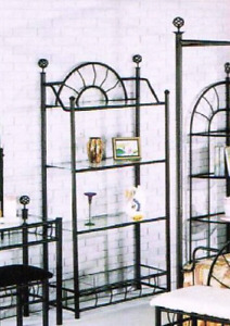 Iron and glass bakers rack type piece