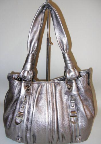 B Makowsky Handbag Pewter