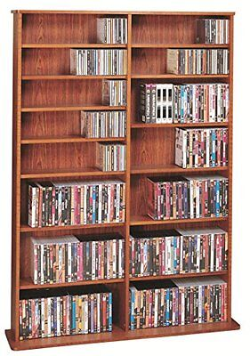 Leslie Dame High Capacity Oak Veneer Multimedia Storage Rack, Cherry -