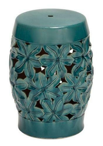 blue ceramic garden stool ebay