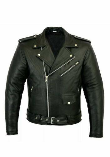 Mens Brando Genuine Leather Jacket Motorcycle Perfecto Black Marlon Biker Jacket