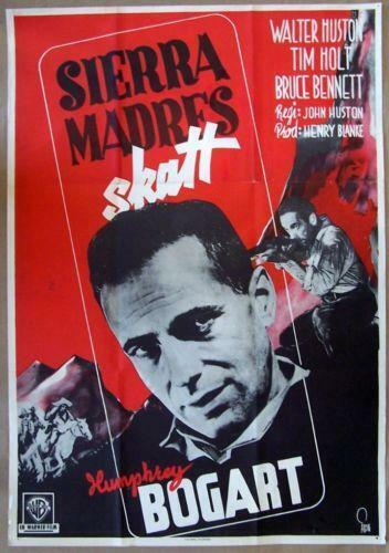 VINTAGE 1948 SWEDISH POSTER - THE TREASURE OF THE SIERRA MADRE - COOL BOGART ART
