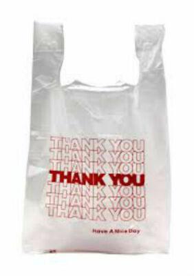 Thank You T-shirt Bags 11.5 X 6 X 21 White Plastic Shopping Bags