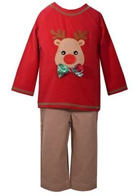 Bonnie Baby Matt' Scooter Christmas Holiday Reindeer Boys Outfit Set 3-6 months ()