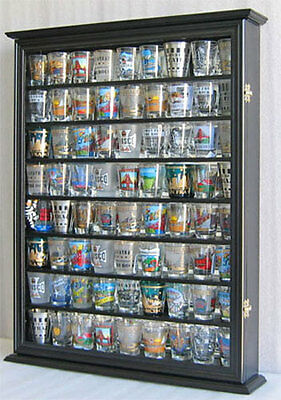 Shot Glass Display Case - 72  Shot Glass Shooter Display Case Rack Wall Cabinet Shadow Box SC13-BLA