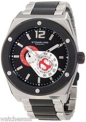 Stuhrling Original Mens Esprit Black Dial Steel Bracelet Watch 281B.332D264