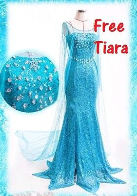 Frozen Elsa Erwachsene Kleid Kostüm Party blau Schnee Queen Perücke Strass ()