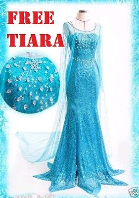 Frozen Adult Elsa Fancy Dress Costume Blue diamante party fancy gown FREE TIARA - Elsa Costumes Adults