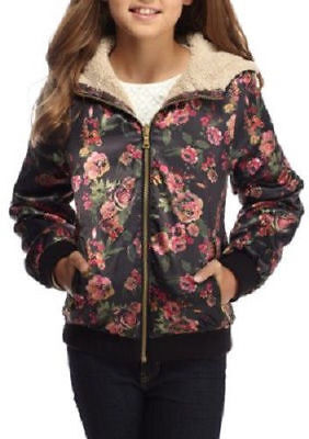 SALE Jessica Simpson Floral Girls Cozy Faux Fur Reversible Bomber Jacket VARIETY