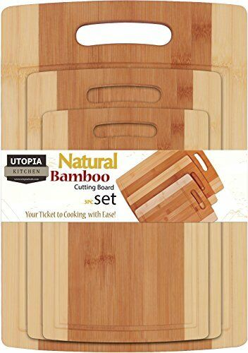 Bamboo Cutting Boards for Kitchen Set of 3 Chopping Boards by Utopia Kitchen