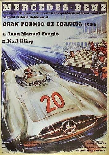 1954 Mercedes Benz Grand Prix Reprint Poster