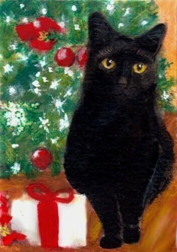 BCB Black Black Cat CHRISTMAS Tree & Gift Print of Painting ACEO 2.5 x 3.5 Inch