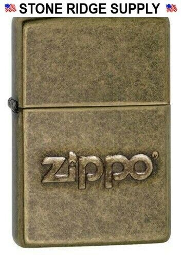 ZIPPO LIGHTER 28994 STAMPED LOGO ANTIQUE BRASS FINISH Made in USA