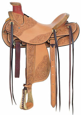 "Western Natural Leather Hand Tooled Roper Ranch Saddle 17"" with Strings, used for sale  Shipping to Canada"
