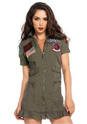 Leg Avenue Women's Top Gun Flight Zipper Front Dress, Khaki/Green, Size Large e2