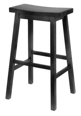 Winsome Wood 20089 29 Black Saddle Seat Bar Stool