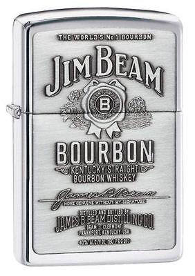 """Zippo """"Jim Beam Bourbon"""" High Polish Chrome Finish Emblem Lighter, 250JB-928"""