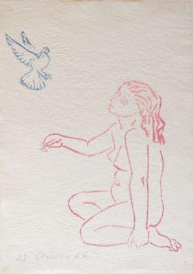 Prof. Walter Arnold, Nacktes Mädchen mit Taube, handsignierter Farbholzschnitt