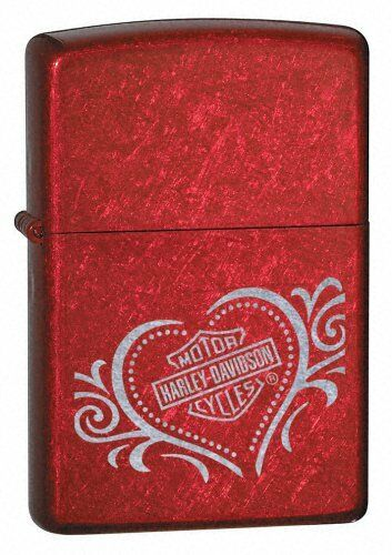 Retired Candy Apple Red Harley Davidson Heart Zippo Lighter