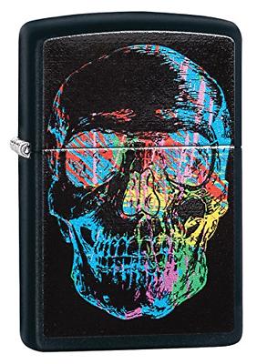 Zippo Colorful Skull Pocket Lighter, Black Matte