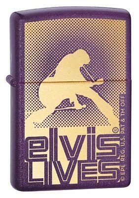 Zippo Lighter Licensed Elvis Presley Lives Sparkle Purple Finish 2005 New Tin