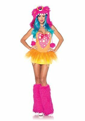 Ladies SHAGGY SHELLY MONSTER Costume Pink Yellow Dress Hood Medium Large 8 10 12