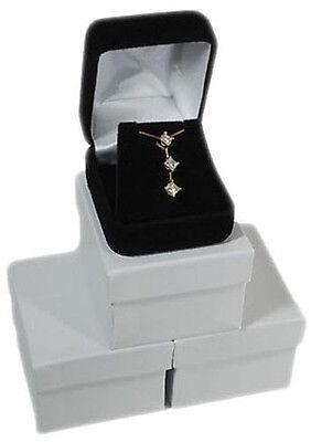 3 Piece Black Velvet Pendant Necklace Earring Jewelry Gift Boxes 1 78 X 2 18