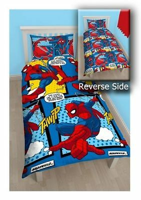 Spiderman 'Webhead' Reversible Rotary Single Bed Duvet Quilt Cover Set New Gift