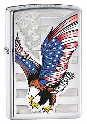 """Zippo 28449,   """"American Eagle-Flag"""" High Polish Chrome Fini"""