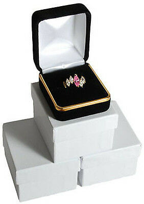 3 Black Velvet Ring Jewelry Gift Boxes With Gold Trim 1 78 X 2 18 X 1 12h