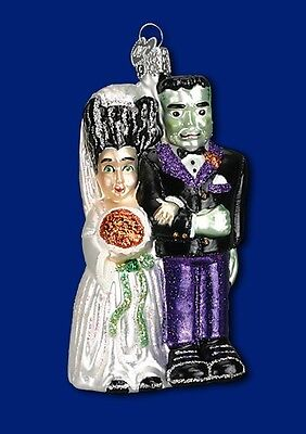 FRANKENSTEIN & BRIDE OLD WORLD CHRISTMAS GLASS HALLOWEEN ORNAMENT NWT 26065