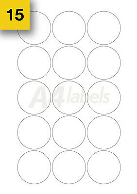 Round Sticky A4 Printer Circle Labels 75 x (50mm Diameter). Blank plain Sheets