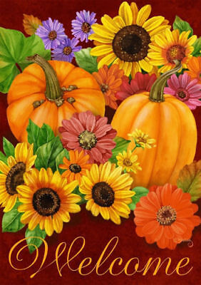#147  AUTUMN  FALL GLORY WELCOME SUNFLOWER PUMPKIN HOUSE FLAG 28X40 BANNER
