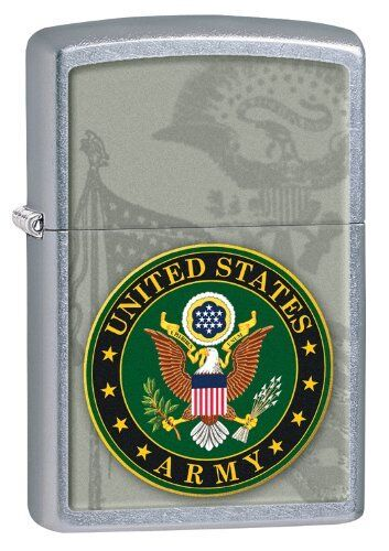Zippo Windproof Street Chrome Lighter With U.S. Army Seal, 28632, New In Box