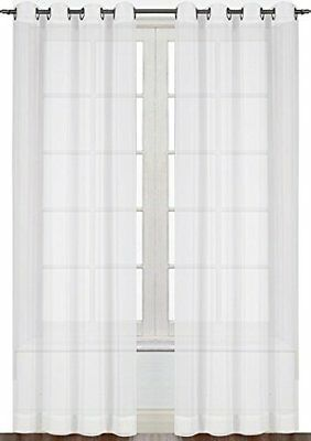 Contemporary Curtains Drapes (Window Curtain White Sheer Voile 2 Panel Set 52 by 84 Inches By Utopia Bedding )