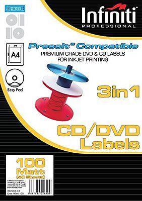 Infiniti - Etichette vuote per CD, formato A4, confezione da 100 (O2X)