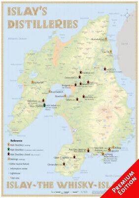 Whisky Distilleries Islay - Poster 42x60cm - Premium Edition|Landkarte
