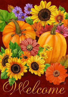 "FM WELCOME FALL GLORY  AUTUMN PUMPKINS FLOWERS GARDEN FLAG 12"" X 18""  BANNER"