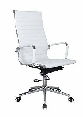Eames Replica White Vegan Leather Executive High Back Office Desk Chair