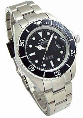 TECHNOS mens watches diver watch rotating bezel black dial tool brace set