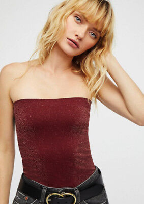 NEW Free People Intimately Seamless Sparkle Tube Top Wine Sz XS/S-M/L $38.40