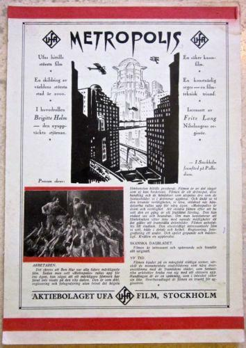REDUCED 30% METROPOLIS - ORIGINAL 1927 SWEDISH MINI WC POSTER EXTREMELY RARE!!!