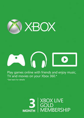 Microsoft Xbox Live Gold Membership 3 Month Subscription Code Instant Ship